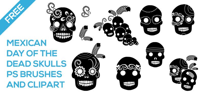 Free – Day of The Dead brush set and PNGs